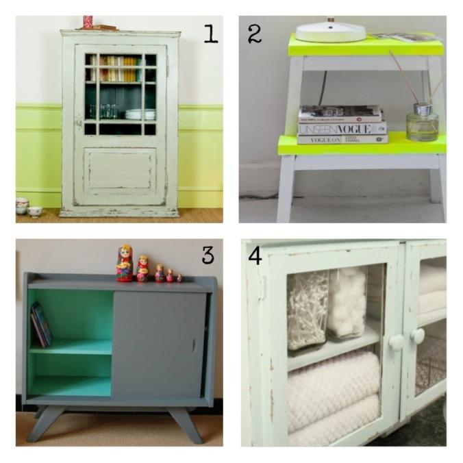 Voici une planche d'inspiration pour relooker un vieux meuble et lui apporter une touche de modernité. Association d'une couleur sobre avec une couleur plus vive pour donner de la profondeur.