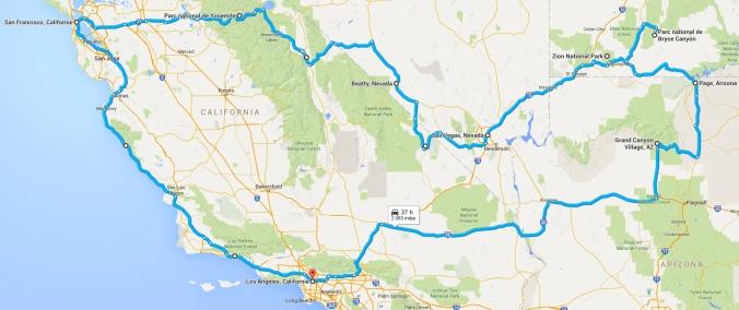 Itinéraire du road trip dans les parcs Ouest américains